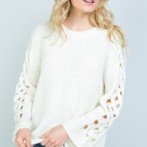 White Long Sweater Fuzzy Ribbed Knit Lace Up